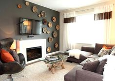 A small, but very cohesive design in this brown and spice living room.