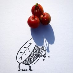 Belgian artist and filmmaker Vincent Bal turns shadows of everyday objects into whimsical doodles that are totally Shadow Drawing, Shadow Art, Shadow Play, Paper Drawing, Funny Sketches, Creative Sketches, Vincent Bal, Creative Thinking, Prints For Sale