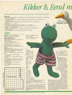 Free crochet pattern for frog and duck (in Dutch) Kawaii Crochet, Crochet Gratis, Crochet Dolls, Crochet Yarn, Crochet Stitches, Free Crochet, Cross Stitches, Häkelanleitung Baby, Baby Zoo