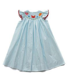 Look at this #zulilyfind! Turquoise Sea Life Smocked Angel-Sleeve Dress - Infant & Toddler #zulilyfinds