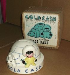 Earl Bernard Cold Cash Ceramic Igloo Bank Johnsons Bookstore Springfield new #EarlBernarddesign
