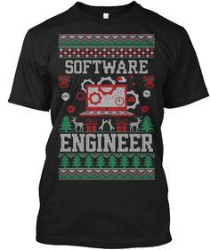 Software Engineer Ugly Christmas Shirt Black T-Shirt Front