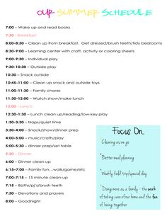 our daily summer schedule