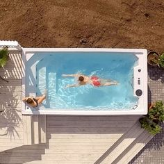 Royal Swim Spa - Royal Spa - Royal Spa Swim Spa for Swimming Year-Round - Hot Tub Backyard, Hot Tub Garden, Small Backyard Pools, Backyard Pool Designs, Small Pools, Swimming Pools Backyard, Pool Spa, Pool Landscaping, Lap Pools