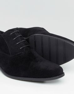 Image 4 of ASOS Oxford Shoes in Black Faux Suede