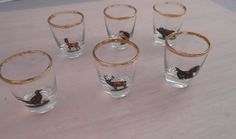 Set of 6 Shot Glasses  Wild Birds and Animals  by VintageElations