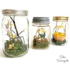 DIY Spring gardening decor miniatures in vintage mason jars by Sadie Seasongoods / www.sadieseasongoods.com