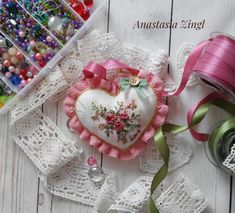 Items similar to Hand Embroidered Pin Cushion Valentine Day Gift Ribbon Embroidery Shabby Chic Victorian Style Home Decoration on Etsy Cushion Embroidery, Embroidery Leaf, Embroidery Patterns Free, Machine Embroidery Designs, Christmas Gifts For Friends, Valentine Day Gifts, Victorian Style Homes, Gift Ribbon, Rosa Rose