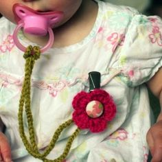 crocheted pacifier holder