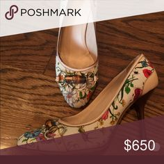 Gucci floral bamboo pumps size 10 Crazy floral pattern from a few years ago too high for me now but I die every time I look at these -it's like a spring bouquet! Size 10 very good condition worn a handful of times Gucci Shoes Heels