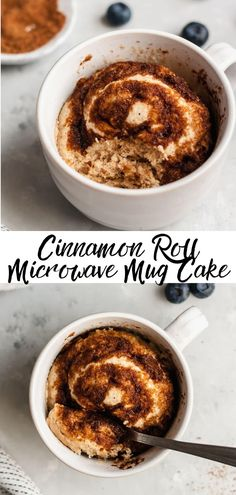 Cinnamon roll microwave mug cake - yummy, quick dessert! - This easy cinnamon roll microwave mug cake recipe is the perfect treat when you're craving a littl - Vegan Mug Cakes, Protein Mug Cakes, Mug Cake Healthy, Healthy Dessert Recipes, Easy Desserts, Quick Dessert, Easy Microwave Desserts, Healthy Breakfasts, Desserts In A Mug