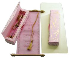 S380, Pink Color, Scroll Invitations, Birthday Invitations, Jewish Invitations