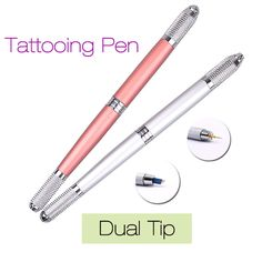 New Tattooing Pen Microblading Pen Tattoo Machine Permanent Makeup Eyebrow Tattoo Manual Pen Needle Blade Dual Tip Beauty 2017 #Affiliate