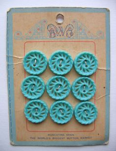 B. W. & Co. ~ another pinner says: what is it about vintage buttons; they are so appealing grouped together on their card