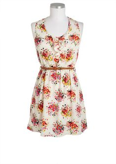 Floral Print Ruffle Front Belted Dress
