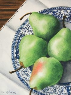 DPW Fine Art Friendly Auctions - Pears on Blue Plate Special by Susan Sjoberg