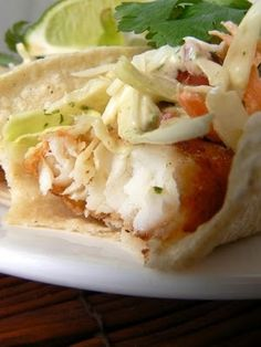 Beer batter fish tacos with Baja Sauce