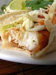 Beer batter fish tacos with Baja Sauce