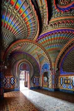 "The Peacock Room Castello di Sammezzano in Reggello, Tuscany, Italy. Add Tuscany to the ""places to visit in Italy"" list Places Around The World, The Places Youll Go, Places To See, Beautiful World, Beautiful Places, Beautiful Buildings, Beautiful Beautiful, Wonderful Places, Colourful Buildings"