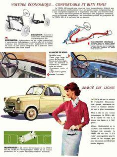 The Piaggio Vespa a four-wheel starlet - Italian Ways Vespa 400, Microcar, Piaggio Vespa, Miniature Cars, E Scooter, Small Cars, Classic Cars, Automobile, Retro