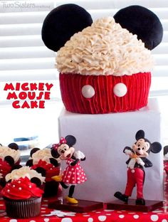 Mickey Mouse Cake - could make cupcakes using red foil wrappers, and it would be much easier