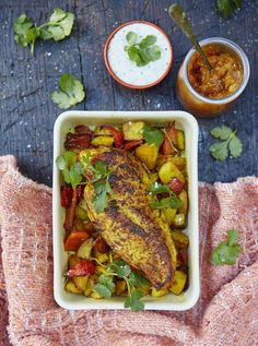 delicious and simple roast chicken breast with lemony Bombay potatoes. A healthy little roast for one.