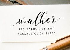 Pre-inked Return Address Stamp #001-custom stamp-Ink Me This Wedding Labels, Wedding Envelopes, Custom Wedding Invitations, Wedding Stationary, White Envelopes, Invites, Envelope Addressing, Calligraphy Envelope, Wedding Calligraphy