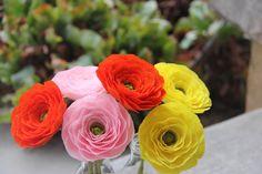 Ranunculus Flowers- Paper Ranunculus-Ranunculus Wedding Bouquet - Crepe Paper Ranunculus- Buttercups on Etsy, $36.00