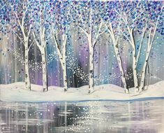 Shimmering Winter Woods painting with snowy river bank.