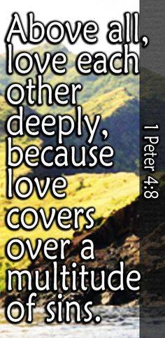 Above all things have intense love for one another, for love covers a multitude of sins. - 1 Peter 4:8