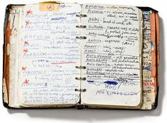 Nick Cave's handwritten dictionary of words, 1984. Nick Cave Collection, the Arts Centre, Melbourne [via]