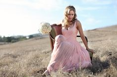 Santa Monica Wedding - Bride in Pink Gown Light Pink Wedding Dress, Blush Pink Wedding Dress, Blush Pink Weddings, Pink Dress, Stunning Dresses, Pretty Dresses, Amazing Dresses, Cheap Wedding Venues, Wedding Ideas