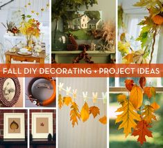 Collection of beautiful fall DIY decorating projects! Autumn leaves, pinecones, mini pumpkins, mantel, and more!