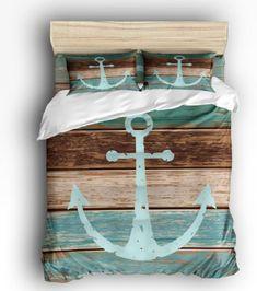 Anchor Bedding Sets and Anchor Comforter Sets - Beachfront Decor Anchor Bedding, Nautical Bedding, Grey Bedding, Linen Bedding, Bed Linens, Quilt Bedding, Coastal Bedding, Modern Bedding, Linen Pillows