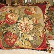 19th century Pair French Floral Aubusson Pillows