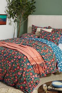 Beautiful painted water color poppies bring this duvet cover to life! Your bedroom will sing with vibrant color and dancing whimsy. Create that cozy getaway you have been dreaming of in your own home. From Anthropologie at Nordstrom's Bedding Sets Online, Luxury Bedding Sets, Duvet Bedding, King Duvet, King Sheets, Bed Sheets, House Beds, Cottage Style