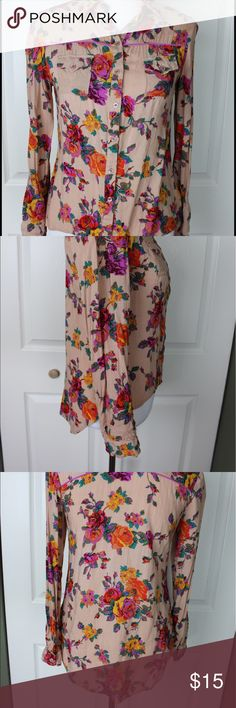 Floral Button Down Long Sleeve High Low Shirt Top This is a great addition to any closet. It would look great dressed up or down. Measurements; armpit to armpit: 16' length (from the front): 21.5' length (from the back): 27.5' Xhilaration Tops Button Down Shirts