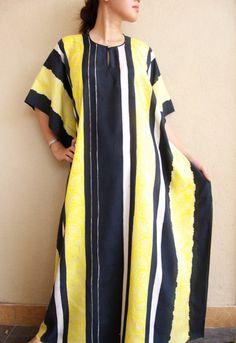 Yellow striped batik caftan from EastAsiaHeritage