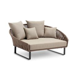 Bitta Daybed (STD) Dimensions: 65x49x31x21in (DxWxxHxSeatH) Material: Brown Rope Kettal Bitta is characterised by a combination of aluminium frames , seats of braided polyester and comfortable cushion