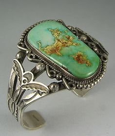 Vntg Navajo OSCAR ALEXIUS Stunning Stamped Turquoise Bracelet turquoise and stamped silver bracelet