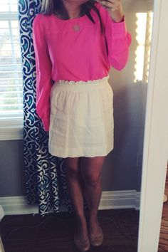 Looove this top and the simple white skirt is perfect! Dressy or casual!