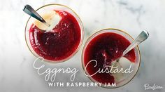 Eggnog Custard with Raspberry Jam