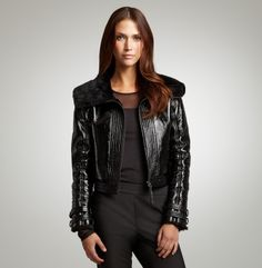 Shearling And Patent Leather Jacket. Kenneth Cole Collection.