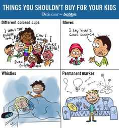 Things You Shouldn't Buy for Your Kids (Parenting Comic by Betje.com for Babble)