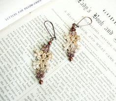 lace earrings AVA ombre ecru tinaevarenee on Etsy