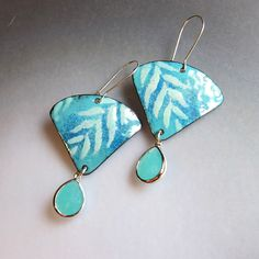 Seafoam Mint Green Fan Earrings, Enamel Jewelry, Turquoise Leaf Earrings, Bohemian Jewelry, Art Deco