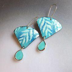 Seafoam Mint Green Fan Earrings, Enamel Jewelry, Turquoise Leaf Earrings, Bohemian Jewelry, Art Deco