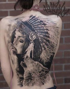 Tattoo Indian woman and Wolf  - http://tattootodesign.com/tattoo-indian-woman-and-wolf/     #Tattoo, #Tattooed, #Tattoos
