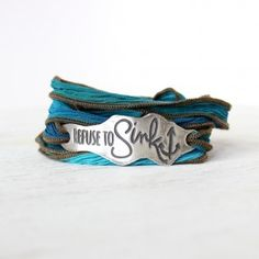 I am not afraid of storms, for I am learning to sail my own ship. I refuse to sink.     Wear this bracelet as a daily reminder to never give up. Hand sculpted from reclaimed fine silver and strung on a hand dyed silk. Simply wrap the silk around your wrist several times, tie, tuck in the ends, and you are ready to go!    {shown on Bluegrass silk}