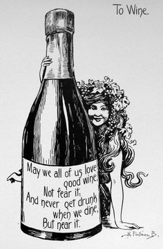 1909 TO WINE POEM Print by Nella Fontaine by sandshoevintageprint